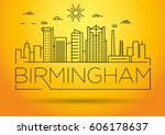 minimal birmingham linear city...   Shutterstock .eps vector #606178637