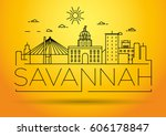 minimal savannah linear city... | Shutterstock .eps vector #606178847
