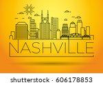 minimal nashville linear city...   Shutterstock .eps vector #606178853
