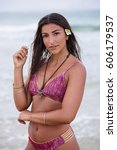 beautiful model standing on the ...   Shutterstock . vector #606179537