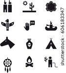 native americans black icons... | Shutterstock .eps vector #606183347
