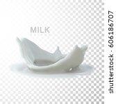 pouring milk crown splash.... | Shutterstock .eps vector #606186707