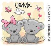 two cute cartoon bears on... | Shutterstock .eps vector #606197477