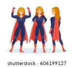 set of female superhero in... | Shutterstock .eps vector #606199127