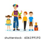 clown animator  shows tricks... | Shutterstock .eps vector #606199193