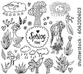 hand drawn vector set with cute ...