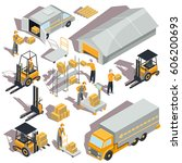 set of vector logistic and... | Shutterstock .eps vector #606200693