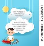 vector paper art of cloud in... | Shutterstock .eps vector #606205067