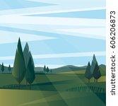 peaceful rural landscape... | Shutterstock .eps vector #606206873
