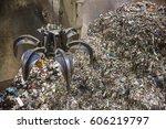 mechanical claw hand grabbing... | Shutterstock . vector #606219797