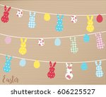 happy easter bunting background ... | Shutterstock .eps vector #606225527