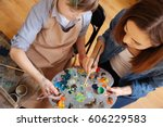 experienced painter teaching... | Shutterstock . vector #606229583