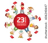vector illustration of the 23... | Shutterstock .eps vector #606240647
