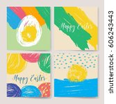 happy easter vintage background.... | Shutterstock .eps vector #606243443
