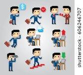 businessman icons set. pixel...   Shutterstock .eps vector #606246707