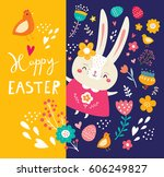 happy easter card. holiday... | Shutterstock .eps vector #606249827
