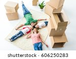 top view of young family of... | Shutterstock . vector #606250283