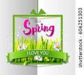 hello spring love card with... | Shutterstock . vector #606251303