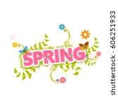 spring vector design. spring... | Shutterstock .eps vector #606251933