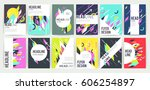 set of geometric abstract... | Shutterstock .eps vector #606254897
