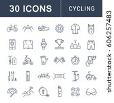 set  line icons with open path... | Shutterstock . vector #606257483