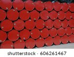 oil barrels or chemical drums... | Shutterstock . vector #606261467