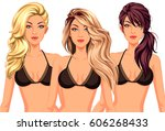 set of three cool hairstyles... | Shutterstock .eps vector #606268433
