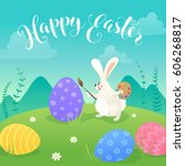 happy easter greeting card with ... | Shutterstock .eps vector #606268817