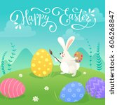 happy easter greeting card with ... | Shutterstock .eps vector #606268847