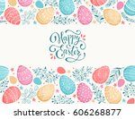 happy easter greeting card.... | Shutterstock .eps vector #606268877