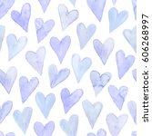 watercolor hearts seamless... | Shutterstock .eps vector #606268997
