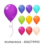 set of colored balloons.... | Shutterstock .eps vector #606274943