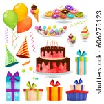 birthday party decorative icons ... | Shutterstock .eps vector #606275123