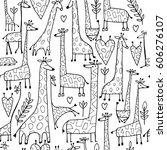 funny giraffes sketch  seamless ...   Shutterstock .eps vector #606276107