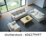 top view of modern living room. | Shutterstock . vector #606279497