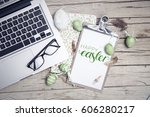 easter background with... | Shutterstock . vector #606280217