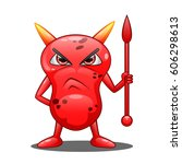 angry red monster.     Shutterstock . vector #606298613