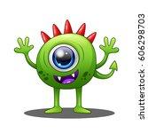 cute green monster  vector...   Shutterstock .eps vector #606298703