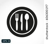 restaurant menu icon plate with ... | Shutterstock .eps vector #606300197