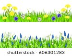 green grass and spring flowers. ... | Shutterstock .eps vector #606301283