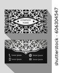 business card  vintage card set ... | Shutterstock .eps vector #606304547