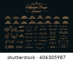 calligraphic design elements  | Shutterstock .eps vector #606305987