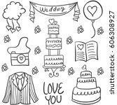 illustration vector of wedding... | Shutterstock .eps vector #606308927