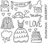 doodle of wedding element... | Shutterstock .eps vector #606308957