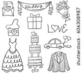 doodle of object wedding style...   Shutterstock .eps vector #606308987