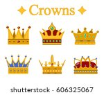 set of gold king crown or pope... | Shutterstock .eps vector #606325067