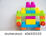 robot from colorful blocks on... | Shutterstock . vector #606335153