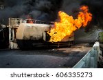 Burning Gas Flame Tank Truck...