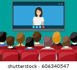 projector screen with financial ... | Shutterstock .eps vector #606340547