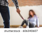 a man use knives to intimidate...   Shutterstock . vector #606340607